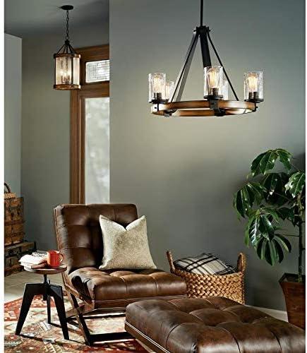 Kichler Lighting Barrington Distressed Black and Wood Rustic Single Seeded Glass Cylinder Pendant, 12.01 W