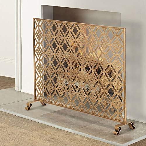暖炉スクリーン 35×39インチシングルパネル錬鉄製暖炉スクリーン/アンティーク銅仕上げ、自立ゲートスパークガードカバー、ゴールド
