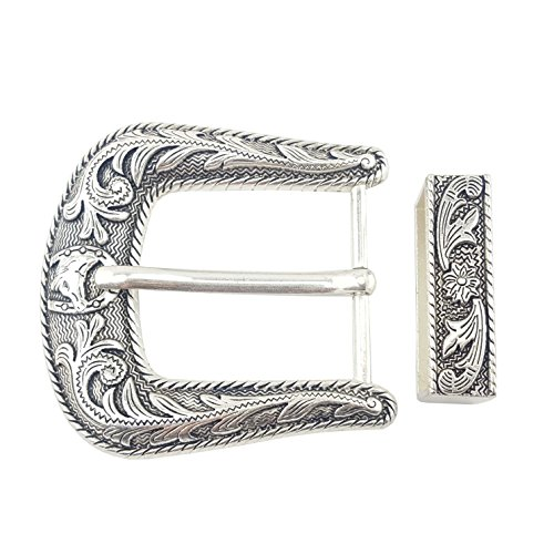 Sterling Silver Finish Western Buckle and Loop - Horseshoe Buckle Belt