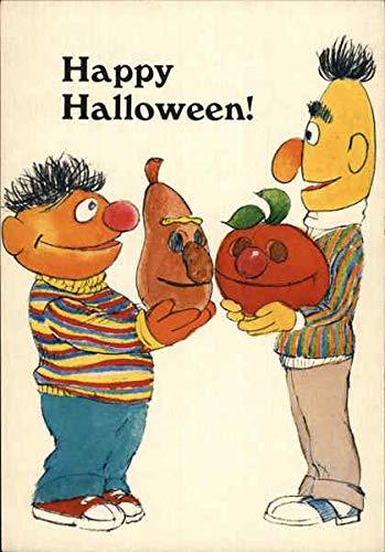 Carving Pumpkins with Bert and Ernie Halloween Original Vintage -