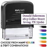 MaxMark Large Size - 3-Line Custom Self Inking Stamp - w/ 5-Year Warranty