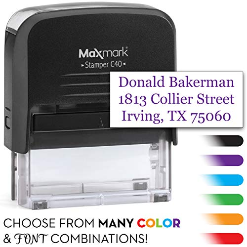 Large Custom Return Address Stamp with Dual Pads - Includes Extra Replacement pad $6.95 Value - Up to 3-Line Custom Self Inking Stamp -
