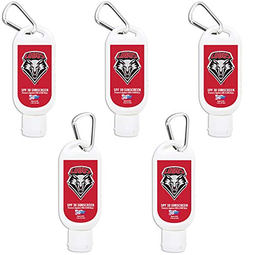 New Mexico Lobos Sport Sunscreen 5-Pack SPF 30 Travel Size with Clip, Water and Sweat Resistant 80 Minutes, UVA UVB Protection. Gifts for Men and Women. - Mexico 80 Proof