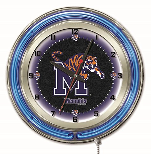 Tigers Neon Clock - Memphis Tigers HBS Neon Blue Black College Battery Powered Wall Clock (19