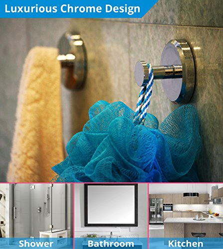 HOME SO Bathroom Hook with Suction Cup Holder - Removable Shower & Kitchen Hooks Hanger for Towel, Bath Robe, Coat, Loofah (2-Pack) by HOME SO (Image #2)