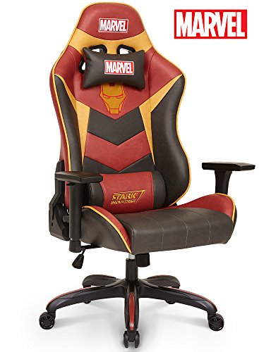 Neo Chair Licensed Marvel Iron Man Gaming Chair 330lb Ergonomic Neck Lumbar Support 4D Adjustable Armrest Recliner Computer Desk Office Executive Premium Leather Racing Chair, Red
