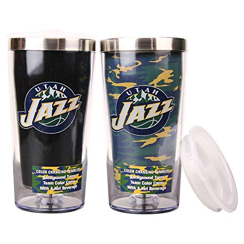 (Boelter NBA 16 Ounce Color Changing Camo Travel Tumbler 2 Pack with Lids (Utah Jazz))