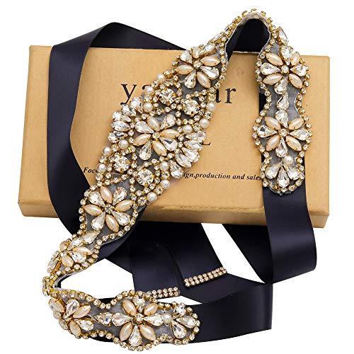 (Yanstar Handmade Gold Crystal Bridal Belts Sashes Wedding Belts With Rhinestone For Wedding Bridesmaid Dress (Gold-Navy) )