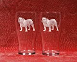 Muddy Creek Reflection English Bulldog Laser Etched Pub Pint Beer Glass Set (2, Pub) For Sale