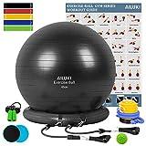 AILUKI Yoga Ball, Exercise Ball Fitness Balls Stability Ball Anti-Slip & Anti- Burst for Yoga,Pilates, Birthing, Balance & Fitness with Workout Guide & Quick Pump