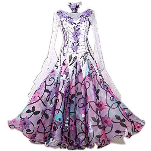 garuda★ぴったり似合うセミオーダー高級ドレス 女性社交ダンス衣装 競技ワルツモダンドレス 花柄 花柄 セミオーダー