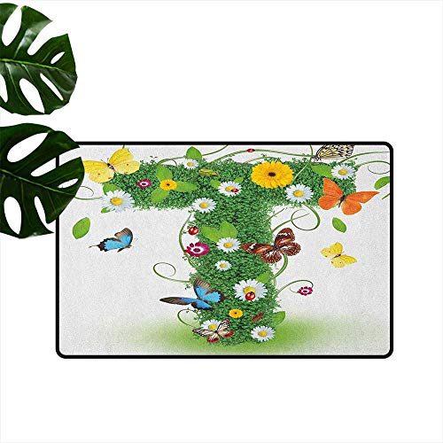 (Letter T,American Floor mats Nature Inspired Design with Flowers and Animals Green Foliage Summer Vibes 31