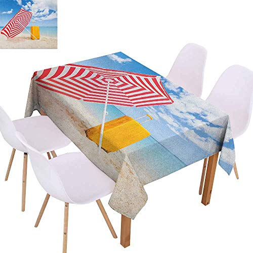 Fabric Dust-Proof Table Cover Yellow and Blue Windy Sandy Beach with Sunshade and Trolley Summer Holiday Relax Picture Easy to Clean W70 xL84 Multicolor