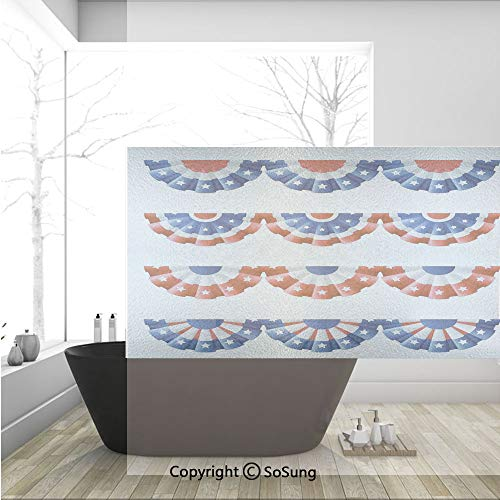 3D Decorative Privacy Window Films,Flag Round Bunting Election Ornament Politic Union Ribbon Event Pattern,No-Glue Self Static Cling Glass Film for Home Bedroom Bathroom Kitchen Office 36x24 Inch -