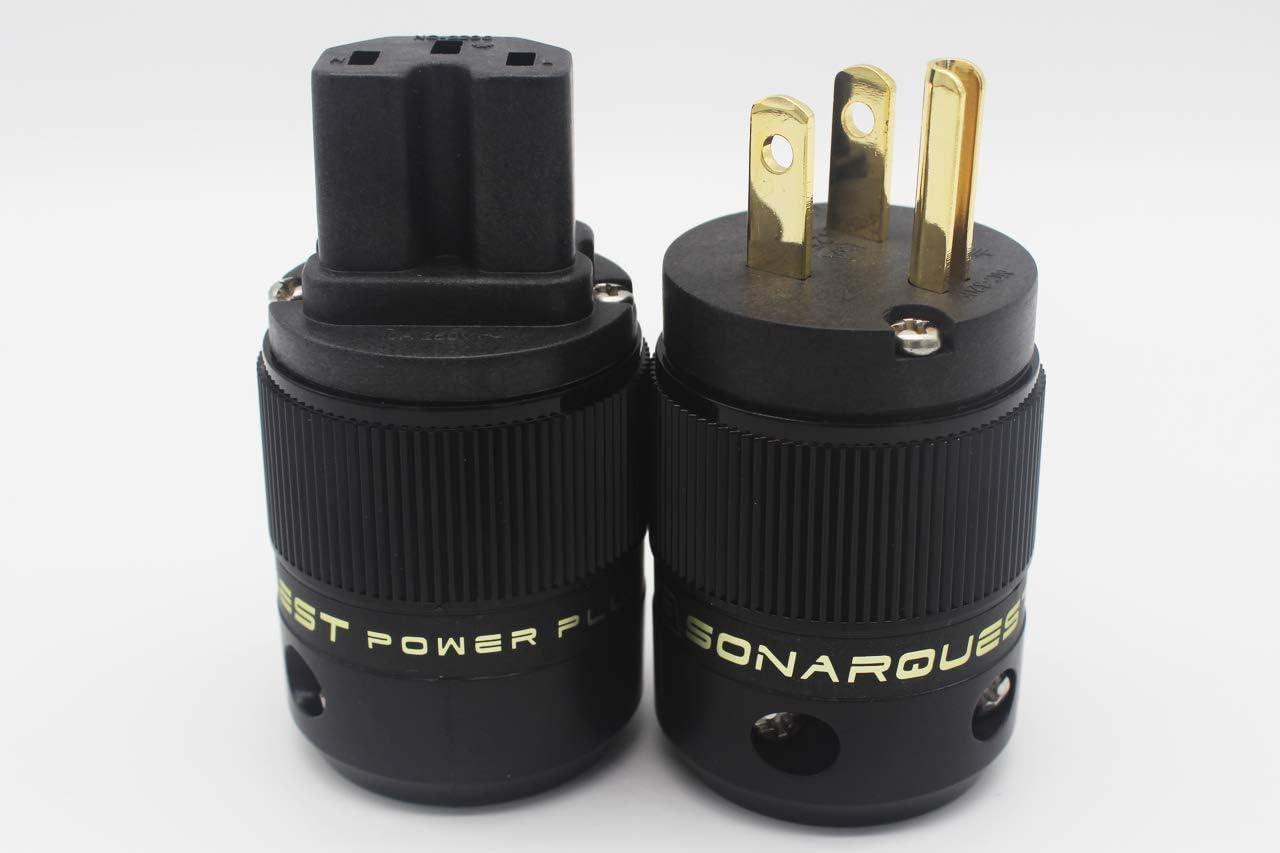 SonarQuest Standard Edition 24K Gold Plated US Power Plug /& IEC Connector Set AC Power for HiFi Audio
