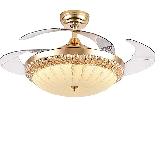 RuiWing 42 Indoor Crystal Ceiling Fan with LED Light and Remote Control,Retractable Blades 3 Colors 3 Speeds with Silent Motor Luxury Fandelier for Bedroom Living Room Gold