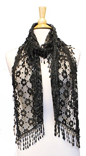 AN Black Crochet Scarf Lace Shawl Beautiful Evening Cocktail Rectangle Accessory (Crochet Neck Scarf)