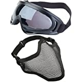 Dcolor 2 in 1 Protection Steel Mesh Face Mask with X400 UV Safety Goggles Airsoft Paintball, Black