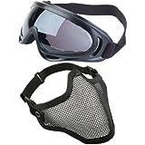 SODIAL(R) 2 en 1 Mascara facial de acero de proteccion con X400 Gafas de proteccion de seguridad UV Bola de pintura airsoft, Negro