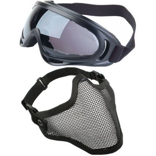 TOOGOO(R) 2 in 1 Protection Steel Mesh Face Mask with X400 UV Safety Goggles Airsoft Paintball, Black