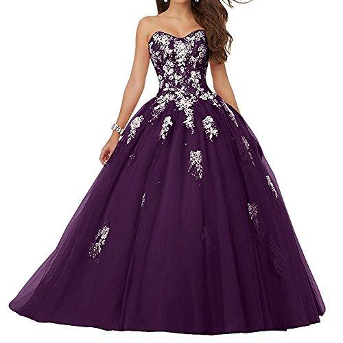 Foncé Quinceanera Jaeden Robe Violet Longue Soirée Fête De Bal Bretelles Sans 76bfygY
