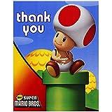 BirthdayExpress Super Mario Bros Party Supplies - Thank-You Notes (8)