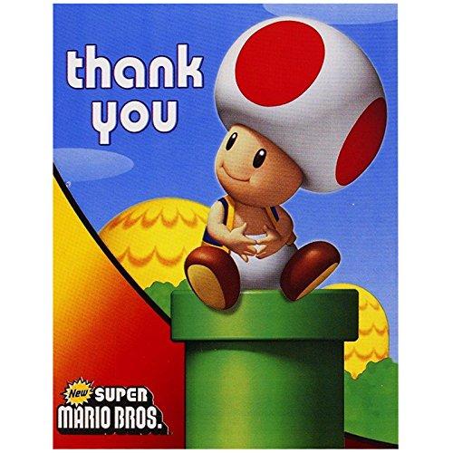 BirthdayExpress Super Mario Bros Party Supplies - Thank-You Notes (8) ()