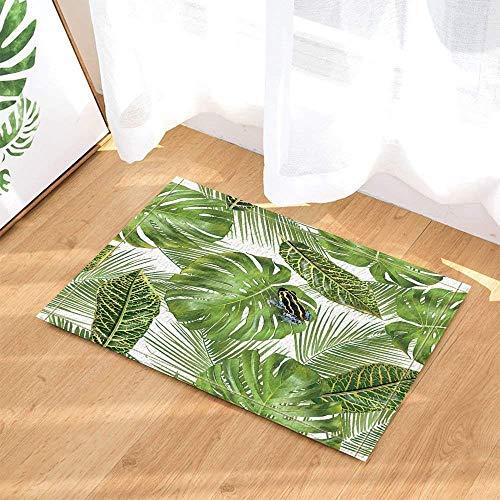 Tropical Style Leaf Frog Bathroom Rug Non-Slip Floor Door Outdoor Interior Door mat, 40x60 cm Bath mat Bath mat