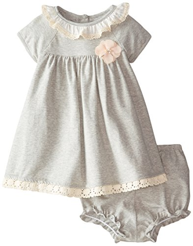 Pippa & Julie Baby Girls' Heathered and Lace Dress, Grey, 18 Months
