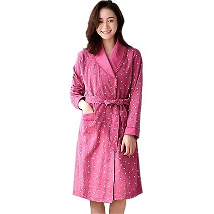 Tina Batas para Mujer algodón otoño Invierno Bata Batas de baño Grandes Damas de Honor túnica