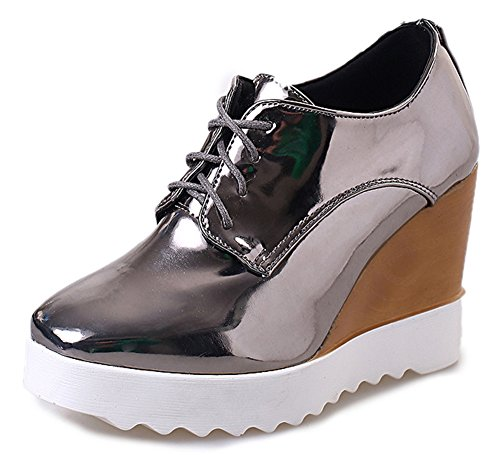 IDIFU Women's Dressy Wedge High Heel Lace Up Platform Shoes Sneakers Silver 8 B(M) US For Sale