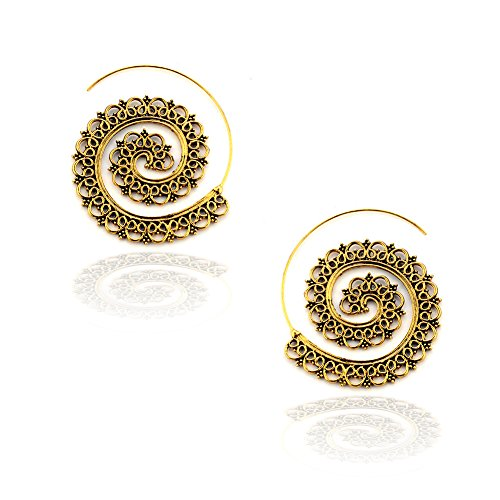 Antiqued Golden Filigree Spiral Drop/Hoop - Antiqued Tone Filigree Gold