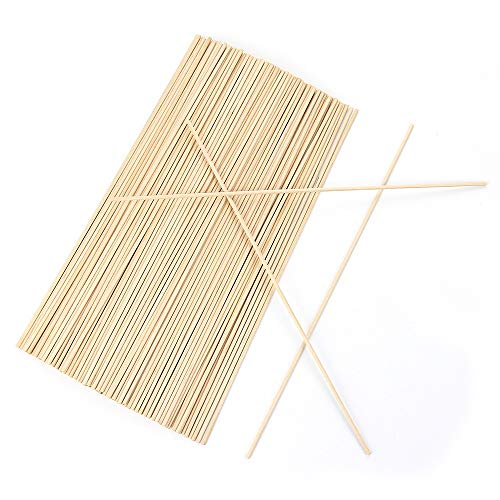 RIVERKING wood rod,natural wooden dowels,unfinished wooden wedding dowel rods,round pennant kite stick,craft rhythm sticks for wedding,music class,party,diy crafts(200 pcs,1/8 x 12 inch)