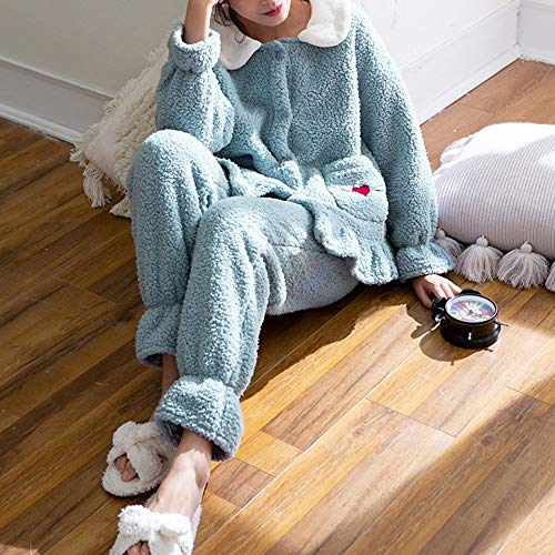 Femenina Colores El Green Piezas Creativo Espesar Dos Empalme Pijamas Liruipengsy Para Encaje Color De Opcionales Gwdj Simple Rebeca Pijamas Cómodo Hogar Sueltos Ropa Traje Invierno 2 wgxgRT4p