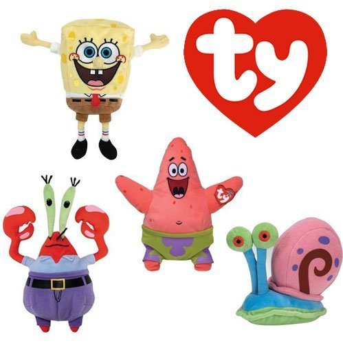 TY Beanie Babies Set of 4- Sponge Bob Square Pants and Patrick Star, Mr. Krabs, and Gary the Snail by Beanie Babies