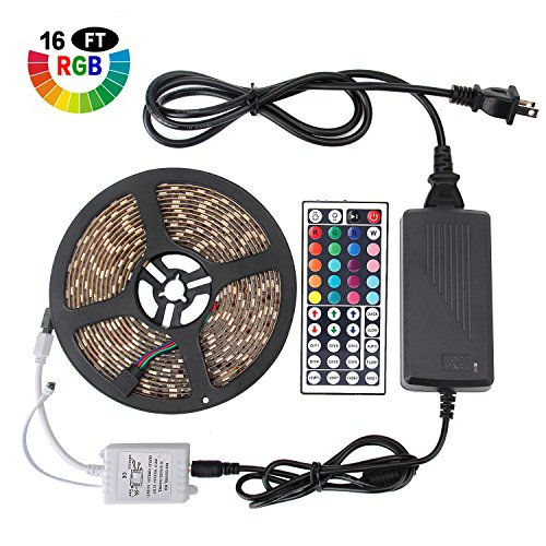 Targherle LED Strip Lights, 16.4ft/5M SMD 5050 IP65 Waterproof RGB Flexible Light Strip Kit with Double PCB 44 Key Remote RGB Controller, Strengthen 3M tape, 12V 5APower Supply for Indoor and Outdoor by Targherle