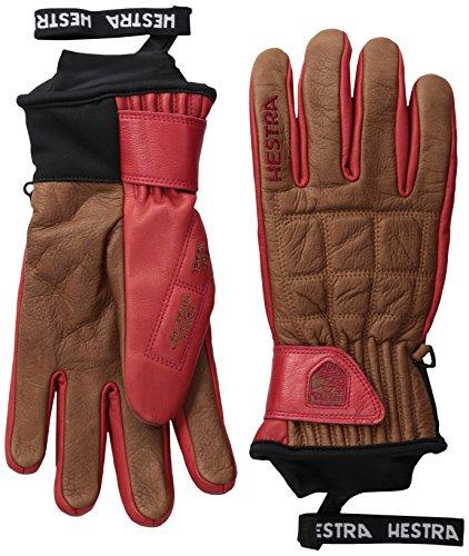(Hestra Ski Gloves: Henrik Pro Model Leather Winter Cold Weather Gloves, Brown/Red, 8)