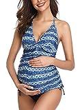 Halter Neck Maternity Tankini Tie-dye Striped Swimsuit Set 2XL Blue