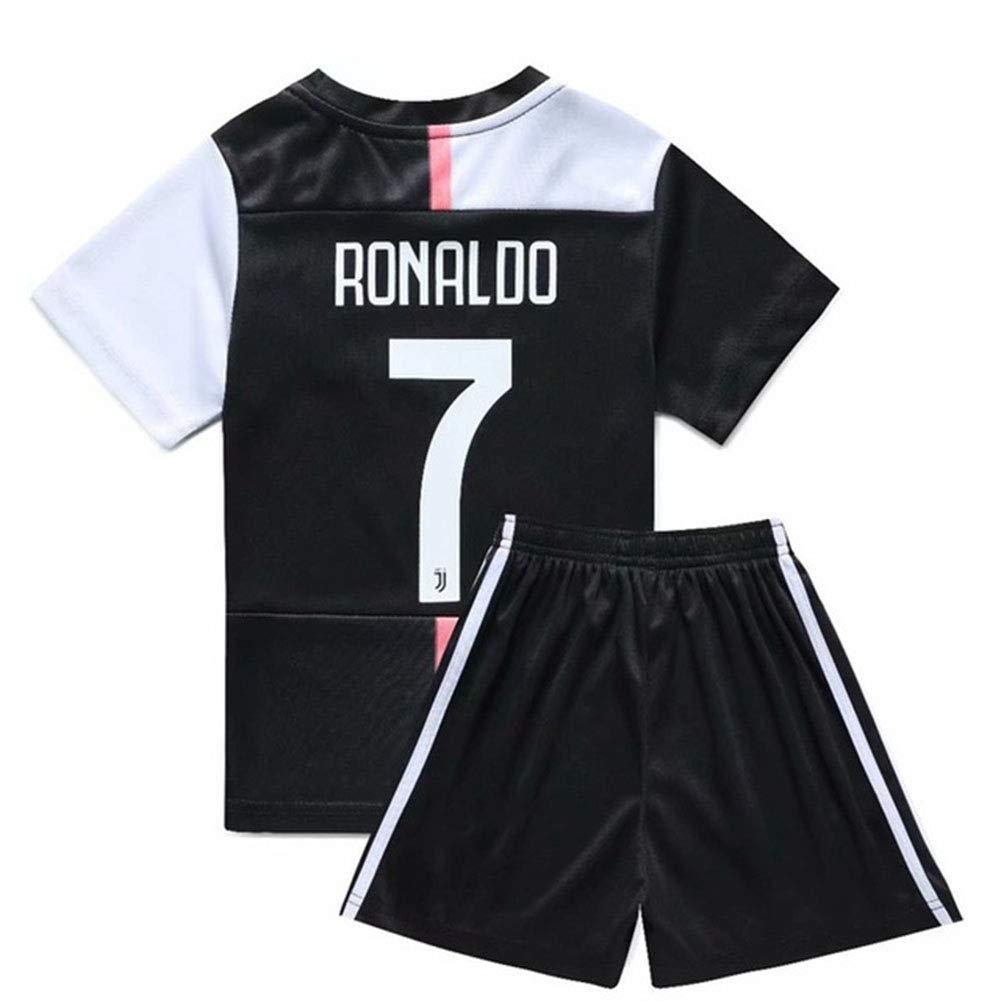 Jersey Abito da Calcio per Bambini Manica Corta 19-20 Juventus Casa 7 Ronaldo Abbigliamento Scuola Calcio Competizione Primaria per Inviare Calzini,26