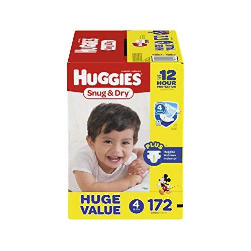 HUGGIES Snug & Dry Diapers, Size 4, 172 Count, HUGE PACK