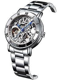 IK Women's Automatic Watch,Steampunk Gold-Tone Movt Silver Tone Self Winding Bracelet Watch (Silver)