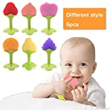 5 PCS Baby Teething Toys, Soft Fruit Teething Toys Set For Toddlers & Infants, Baby Teeth Stick by Bagvhandbagro [Random Pattern]