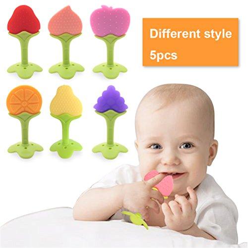 5 PCS Baby Teething Toys , Soft Fruit Teething Toys Set For