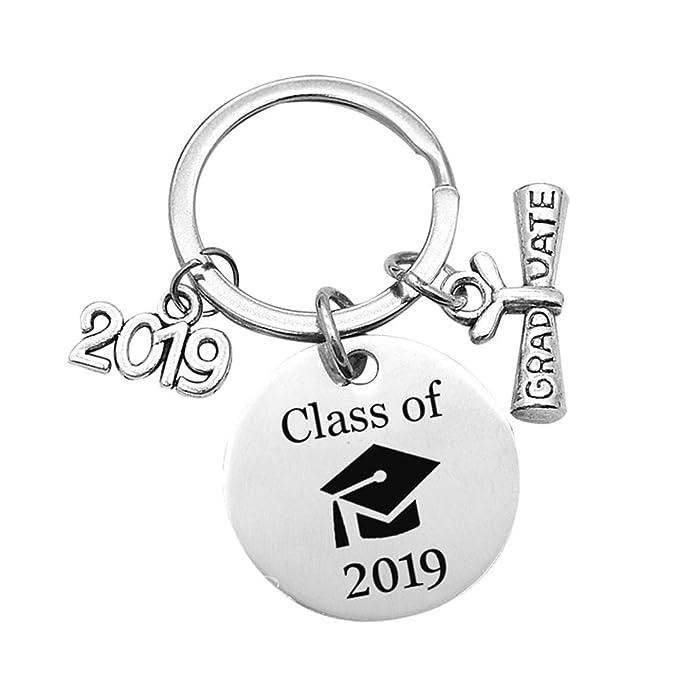 Amosfun Clase de 2019 Llavero de graduación Acero inoxidable Gorra de graduación Llavero Llavero Charms para regalo de graduación de estudiante
