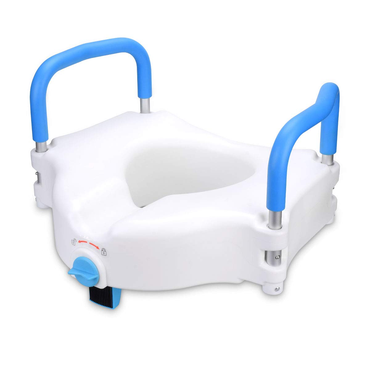 Health Line 5'' Elevated Raised Toilet Seat Commode Seat Riser Lifter, with Removable Padded Grab Bar Handles & Locking Mechanism, Portable and Sturdy for Handicapped, Elderly and Seniors by HEALTH LINE MASSAGE PRODUCTS