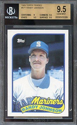 9.5 Gem Bgs Mint (Randy Johnson Graded BGS 9.5 GEM MINT (Baseball Card) 1989 Topps Traded - Box Set [Base] #57T)
