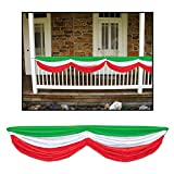 Pack of 6 Green, White and Red Italian Festival Fabric Bunting Hanging Decorations 70''
