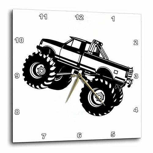 3dRose dpp_157406_2 Monster Truck Black Monster Truck Wall Clock, 13 by 13-Inch