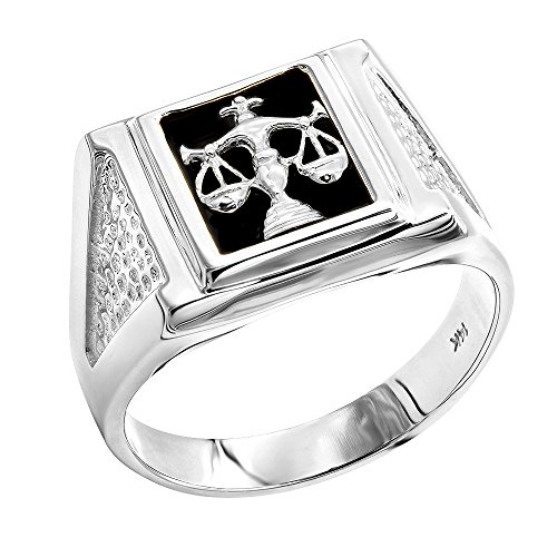 (Luxurman Mens Natural Black Onyx 14K Libra Scales Ring For Him (White Gold Size 11))