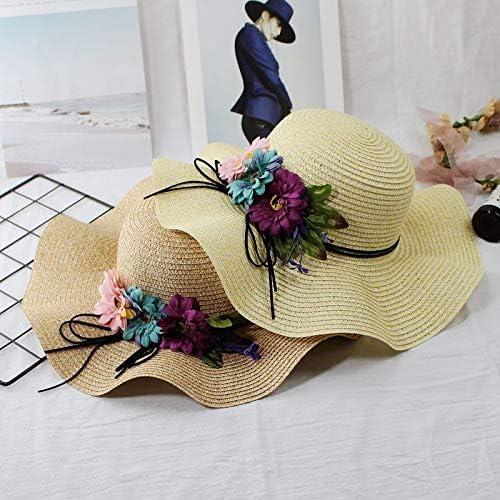 navy unique lady large brimmed straw hat cap parent-child sun girls flowers beach straw summer travel straw children girl beach